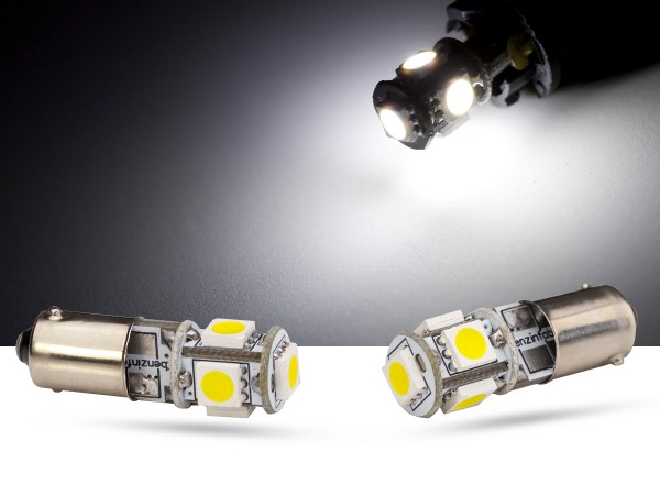 5er SMD LED, Metalsockel BA9s LEDT4W, CAN-bus, weiss, offroad