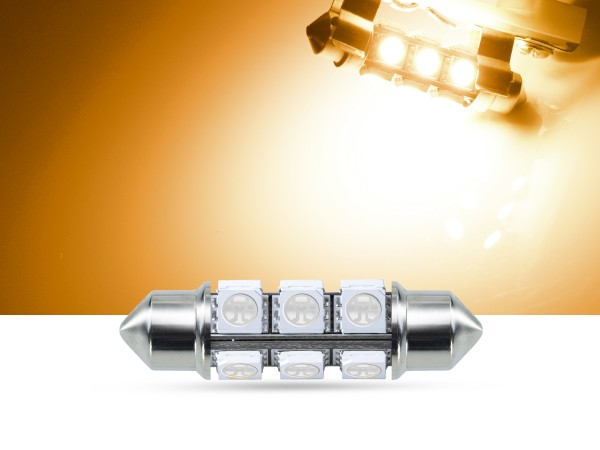 12er SMD LED Soffitte 42mm, gelb