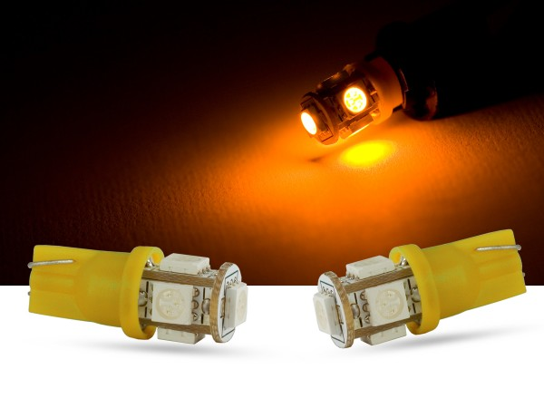 5er SMD LED, Glassockel T10 LEDW5W, orange, offroad