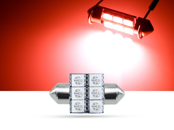 32mm 6x3-Chip SMD LED Soffitte Innenraumlicht, rot