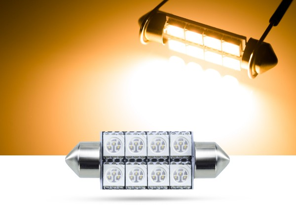 39mm 8x3-Chip SMD LED Soffitte Innenraumlicht, gelb