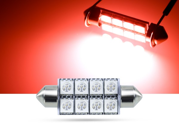 42mm 8x3-Chip SMD LED Soffitte Innenraumlicht, rot