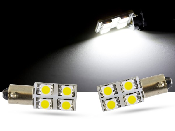 90° - 4er SMD LED, Innenraumlicht BAX9s LEDH6W, weiss