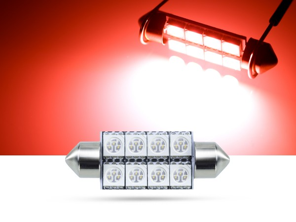 39mm 8x3-Chip SMD LED Soffitte Innenraumlicht, rot